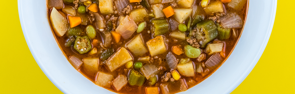 Beef Vegetable Soup in a bowl.