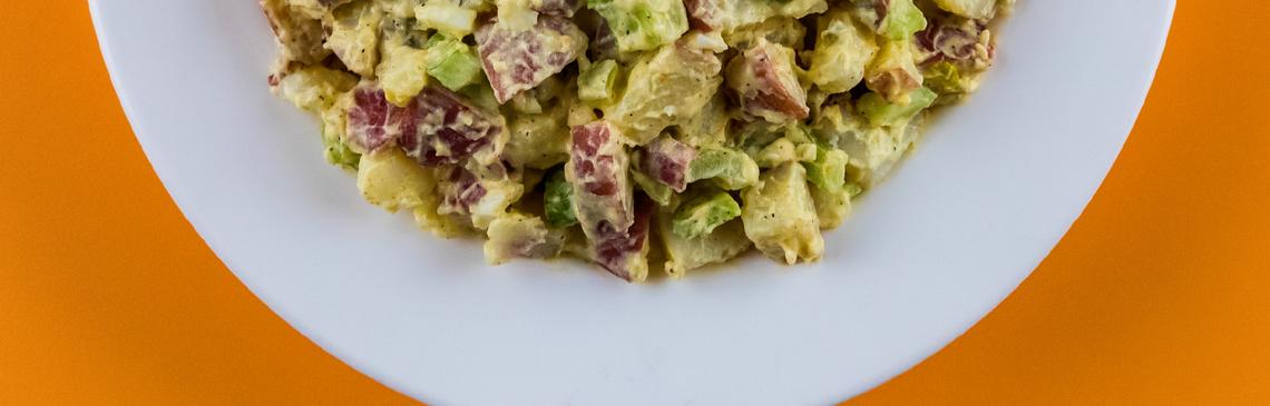 Plate with potato salad.