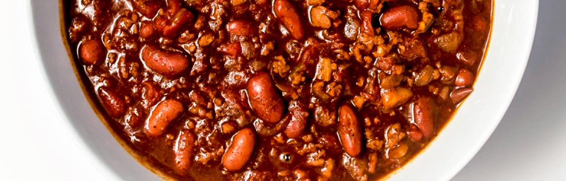 Bowl of quick chili.
