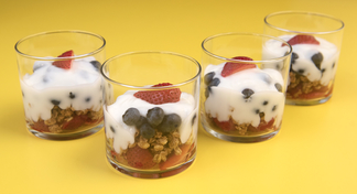 Four clear containers filled with the berry blast off recipe.