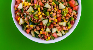 Bowl with black-eyed pea salad.