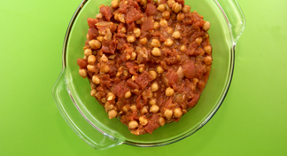 glass bowl of chickpeas and tomatoes