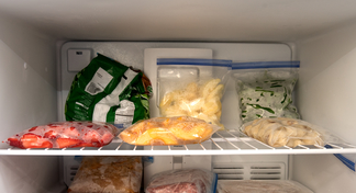 packages of frozen fruits and vegetables is freezer