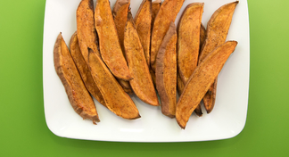 plate of red sweet potato planks