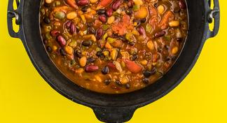 3 Bean Chili in a pot.