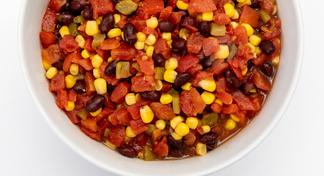 Black Bean and Corn Salsa in white bowl