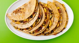 Black Bean & Vegetable Quesadillas on white plate