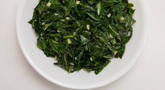 Plate of collard greens.
