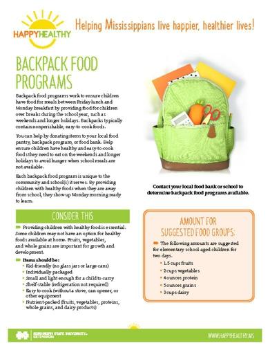 Download HappyHealthy Backpack Food Programs Newsletter (P3614)